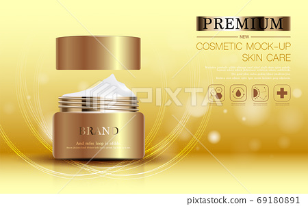 Hydrating facial skincare for annual sale or festival sale. silver brown cream mask bottle isolated on glitter particles background for product presentation. Graceful cosmetic ads. 69180891