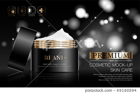Hydrating facial skincare for annual sale or festival sale. silver brown cream mask bottle isolated on glitter particles background for product presentation. Graceful cosmetic ads. 69180894