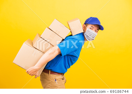 delivery worker man wearing face mask protective he has many job 69186744