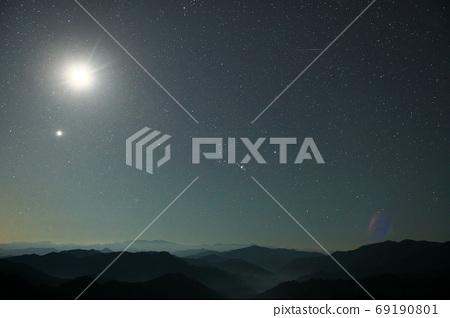 奈良縣野佐川川村,映襯著英仙座流星雨的星空,月亮和山脈升起 69190801