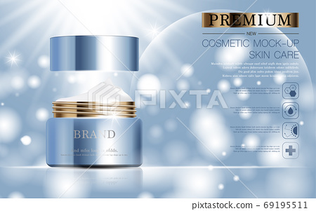 Hydrating facial skincare for annual sale or festival sale. silver brown cream mask bottle isolated on glitter particles background for product presentation. Graceful cosmetic ads. 69195511