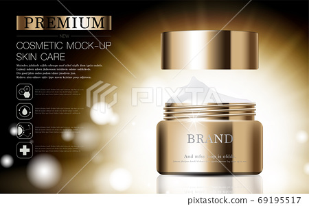 Hydrating facial skincare for annual sale or festival sale. silver brown cream mask bottle isolated on glitter particles background for product presentation. Graceful cosmetic ads. 69195517