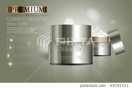 Hydrating facial skincare for annual sale or festival sale. silver brown cream mask bottle isolated on glitter particles background for product presentation. Graceful cosmetic ads. 69195522