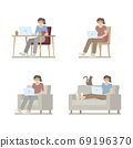 Set of woman in casual clothes working at home on laptop computer sitting at desk, on chair, armchair and lying on sofa in flat cartoon style 69196370