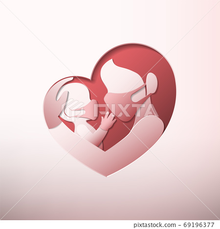 Side view of mother holding a baby with medical face masks and rubber gloves, inside heart shaped frame in paper art style 69196377
