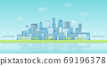 Panoramic view of buildings group in waterfront smart city with sky trains, wind turbines, trees in clear blue sky 69196378