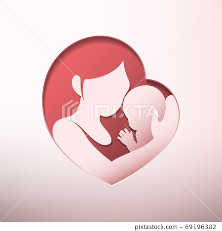Mother holding little baby with her arm inside heart shaped silhouette in paper cut style 69196382