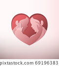 Side view of gay couple caressing each other inside heart shaped frame in paper art silhouette style 69196383