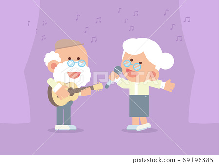 Elderly couple smiling, playing guitar and singing happily with curtain and musical notes in cute flat cartoon style 69196385