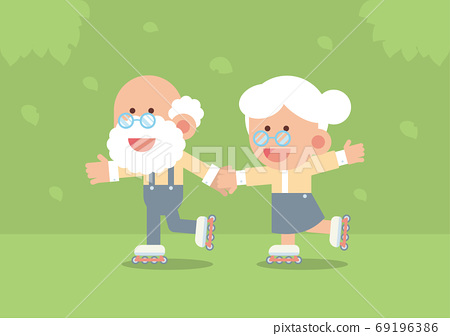Elderly couple smiling, holding hands and skating on rollerblades outdoor with trees and falling leaves in cute flat cartoon style 69196386