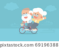 Elderly couple smiling, senior man riding vintage bicycle outdoor with senior woman sitting behind, blowing wind and clouds in cute flat cartoon style 69196388