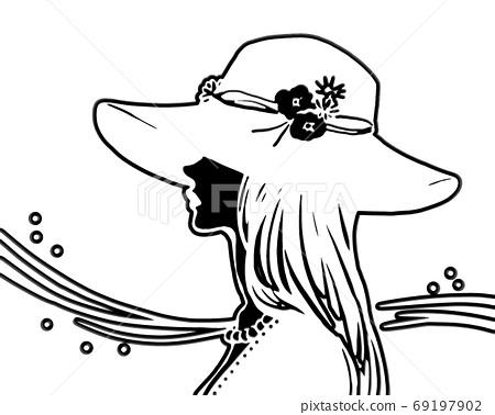 모자를 쓴 여성의 잘라 그림 69197902