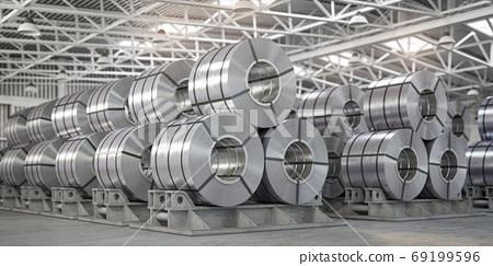 Rolls of metal sheet. Zinc, aluminium or steel sheet rolls on wa 69199596
