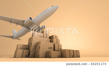 Stack of brown box packaging and airplane, shipping business 69201174
