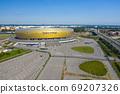 Aerial view of Stadium Energa, home stadium of local team Lechia Gdansk. Gdansk, Poland. 69207326