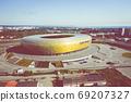Aerial view of Stadium Energa, home stadium of local team Lechia Gdansk. Gdansk, Poland. 69207327