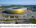 Aerial view of Stadium Energa, home stadium of local team Lechia Gdansk. Gdansk, Poland. 69207328