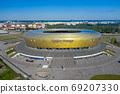 Aerial view of Stadium Energa, home stadium of local team Lechia Gdansk. Gdansk, Poland. 69207330
