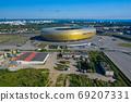 Aerial view of Stadium Energa, home stadium of local team Lechia Gdansk. Gdansk, Poland. 69207331