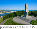 Aerial view of Westerplatte Monument in memory of the Polish defenders. 69207353