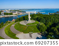 Aerial view of Westerplatte Monument in memory of the Polish defenders. 69207355