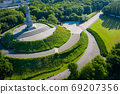 Aerial view of Westerplatte Monument in memory of the Polish defenders. 69207356