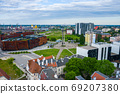 Aerial view of European Solidarity Center and the monument to the Fallen Shipyard Workers of 1970 with three crosses. Tricity, Pomerania, Poland. 69207380