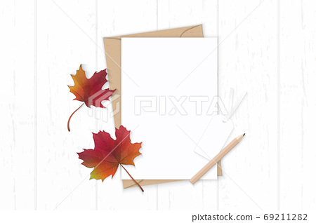 Flat lay top view elegant white composition letter kraft paper e 69211282