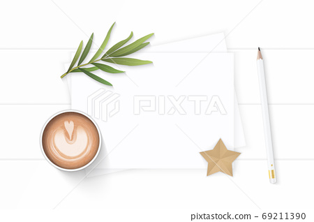 Flat lay top view elegant white composition paper pine cone penc 69211390