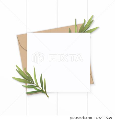 Flat lay top view elegant white composition letter kraft paper e 69211539