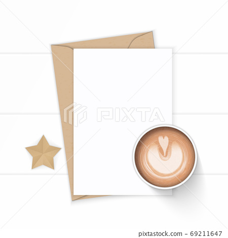 Flat lay top view elegant white composition letter kraft paper e 69211647