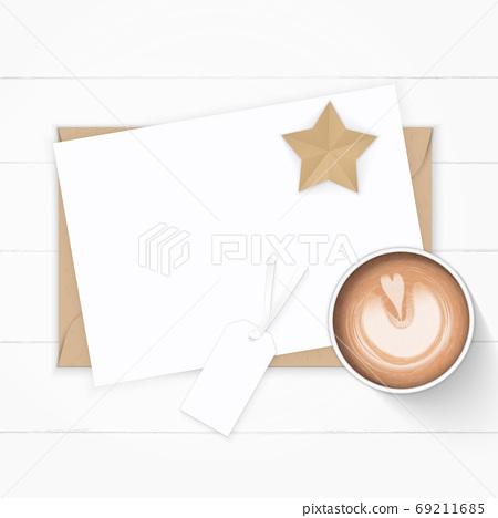 Flat lay top view elegant white composition paper kraft envelope 69211685