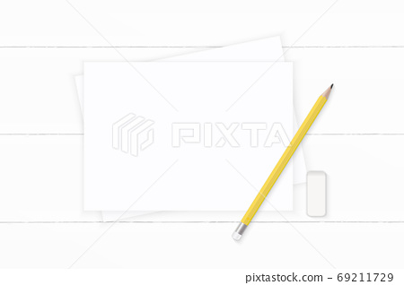 Flat lay top view elegant white composition yellow pencil and er 69211729