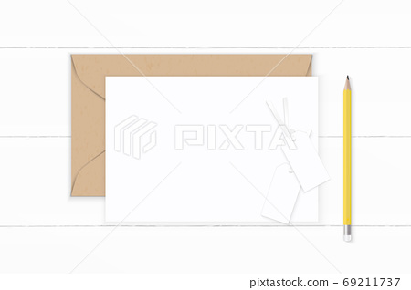 Flat lay top view elegant white composition letter kraft paper e 69211737