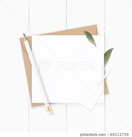 Flat lay top view elegant white composition letter kraft paper e 69211739