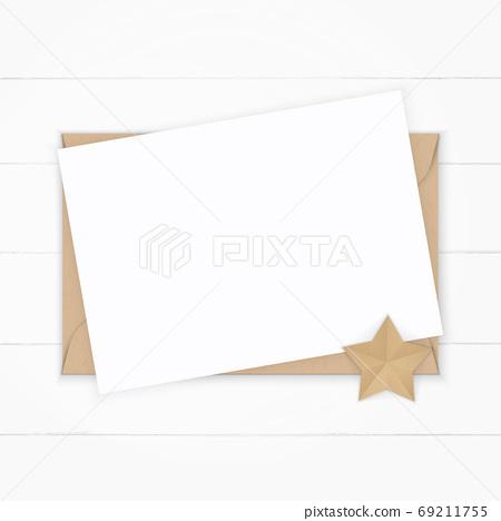 Flat lay top view elegant white composition paper kraft envelope 69211755