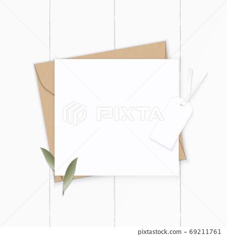Flat lay top view elegant white composition letter kraft paper e 69211761