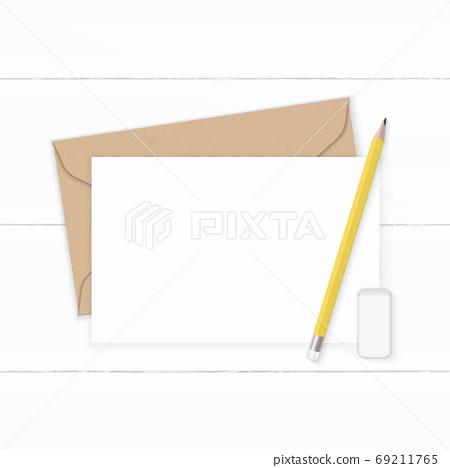 Flat lay top view elegant white composition letter kraft paper e 69211765