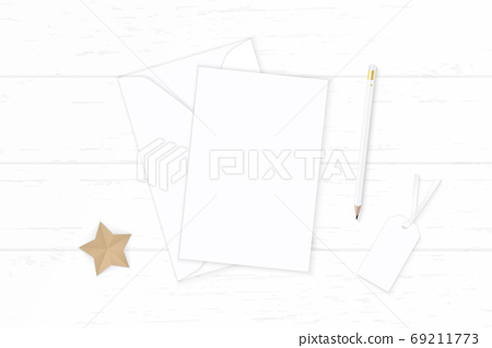 Flat lay top view elegant white composition letter paper envelop 69211773