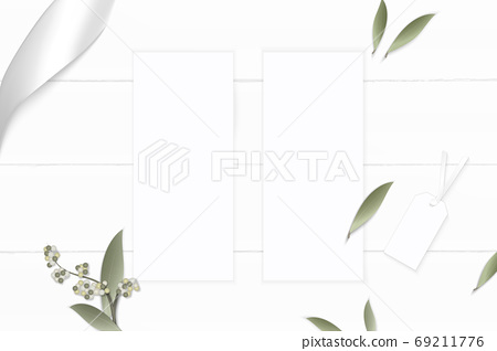 Flat lay top view elegant white composition paper flower leaf ta 69211776