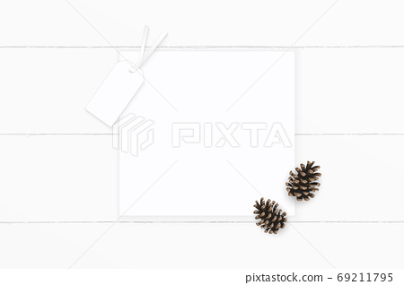 Flat lay top view elegant white composition paper brown pine con 69211795