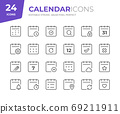 Date and Calendar Line Icons. Editable Stroke. Pixel Perfect. 69211911