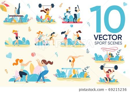 Professional Sportsman Athlete Character Sport Set 69215236