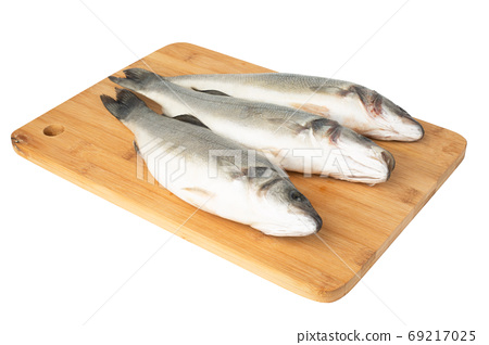 Raw seabass isolated on white 69217025