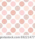 Cute pastel circle cat seamless pattern background 69221477