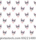 Cute french bulldog with scarf collar seamless pattern backgroun 69221480