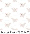 Cute baby shark seamless pattern background 69221483