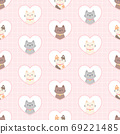 Cat in a heart frame seamless pattern background 69221485