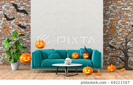 3D render of Halloween party in living room and pumpkins, jack-o-lantern 69221587