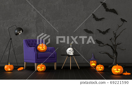 3D render of Halloween party in living room and pumpkins, jack-o-lantern 69221590